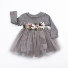 1 шт., осенне-зимние вязаные платья с цветочным узором для девочек, милое бальное платье-пачка с длинными рукавами для маленьких девочек, розовое, белое, белое, бальное платье, От 0 до 3 лет
