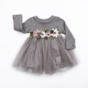 платье для дев Flower Girls Autumn Winter Knitted Dresses Infant Baby Girl Long Sleeve Pink White Grey Tutu Ball Gown Dress 0-3Y(China)