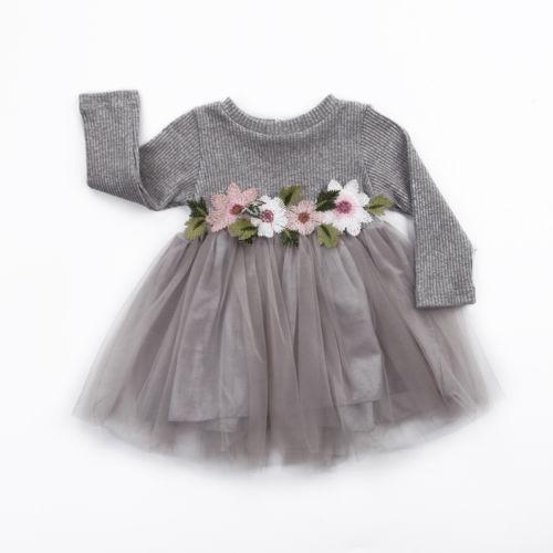 1PC Flower Girls Autumn Winter Knitted Long Sleeve Tutu Ball Gown Dress 0-3Y