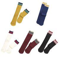 Women Girls Harajuku Thread Rib Knitted Mid Calf Long Crew Socks Retro Color Block Stripes Patchwork Student Cotton Tube Hosiery