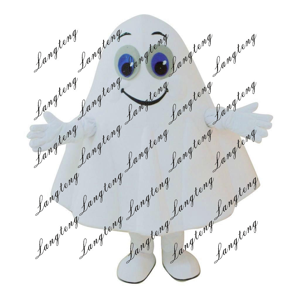 8a248610bf Deluxe Cartoon White Ghost Mascot Costume Fancy Dress Adult Size Fancytrader