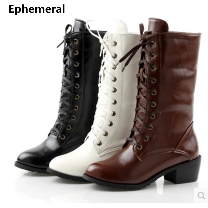 Women white black brown mid-calf boots lace-ups high top wedges heels long botas for winter and autumn fur shoes plus size 43 42 mid calf women boots black white brown big size 34 43 new winter mid calf women boots black white brown for choice flats shoes