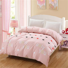 Fashion pink Love couples Elegant Bedding adult bedroom Cartoon Duvet Cover Active Printing twin full queen King home textiles(China)