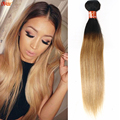 Ombre Brazilian 1B 27 Virgin Hair 1 Bundle Deals Two Tone Straight Honey Blonde Human Hair Weave Brazilian Ombre Straight Hair
