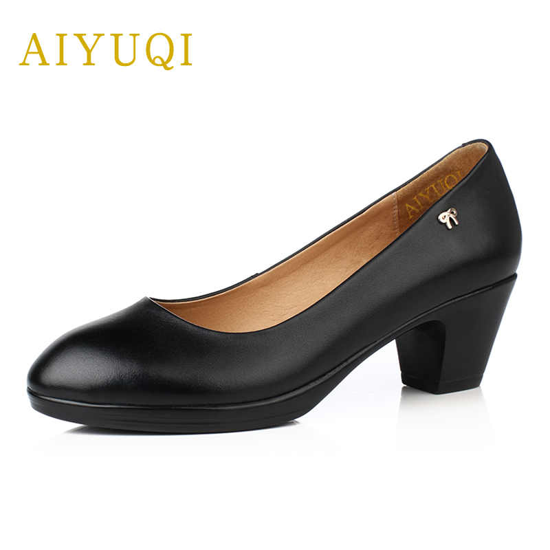 AIYUQI 2019 Spring New Genuine Leather Women Shoes Big Size 41 # 42 # 43 # Professional Shoes Hotel Work Shoes Female
