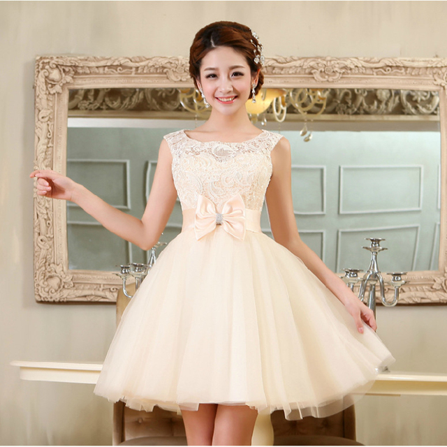 ccc51d887b1 Short White Lace Prom Dress 2016 Girl Lovely Club Party Homecoming Dresses  Bow Red Champagne Pink Vestidos De Noche