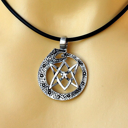 Thelema ouroboros uroborus dragon serpent unicursal hexagram star thelema ouroboros uroborus dragon serpent unicursal hexagram star pewter pendantth1 in chain necklaces from jewelry accessories on aliexpress mozeypictures Images
