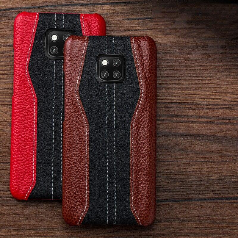 Newisdom Pour Huawei Compagnon 20 Cas De Luxe En Cuir NATUREL mate20 Pro 20 lite Dur de Couverture Arrière De Protection Cas D'affaires Vintage - 3