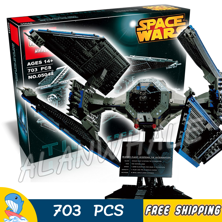 703pcs New Space Wars 05044 Ultimate Collector Series TIE Interceptor Model Building Blocks Toys Bricks Compatible with Lego new 1685pcs lepin 05036 1685pcs star series tie building fighter educational blocks bricks toys compatible with 75095 wars