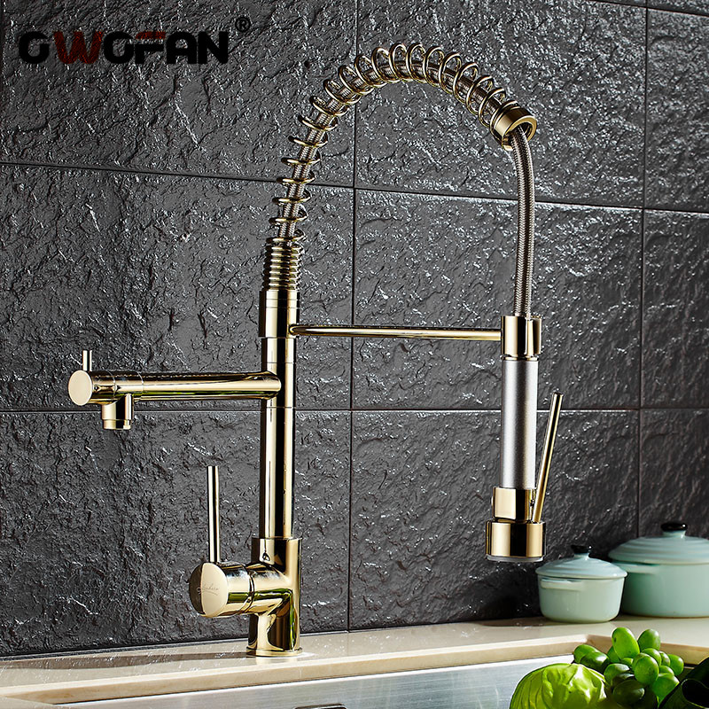 Kitchen Faucets Gold Torneira Para Cozinha Faucet For Kitchen Sink Single Pull Out Spring Spout Mixers Hot Cold Water Tap -028