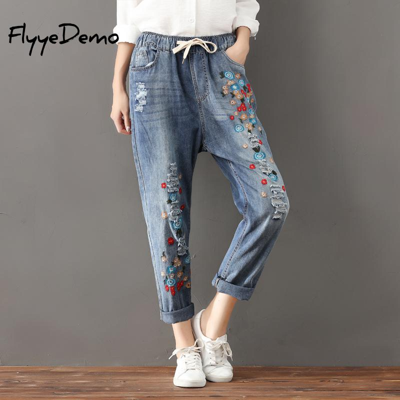 Plus Size S- 3XL Floral Embroidery Jeans Femme Women Clothing Floral Embroidered Pencil Denim Pants Large Size 2019 Ladies
