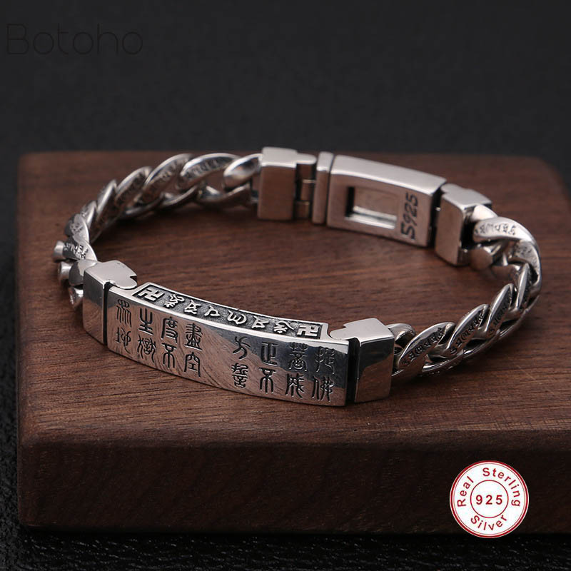 True 925 sterling silver bracelet men's retro punk fashion hand-woven bracelet bracelet men's jewelry 2018 charm men bracelet wooden breads hand woven wrap bracelet