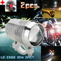2pcs Super Bright 30W U2 LED Headlight Spotlight Driving Fog Safety Head Light Spot Night Lamp For All Motorcycle + Switch