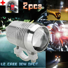 2pcs Super Bright 30W U2 LED Headlight Spotlight Driving Fog Safety Head Light Spot Night Lamp For All Motorcycle + Switch(China)