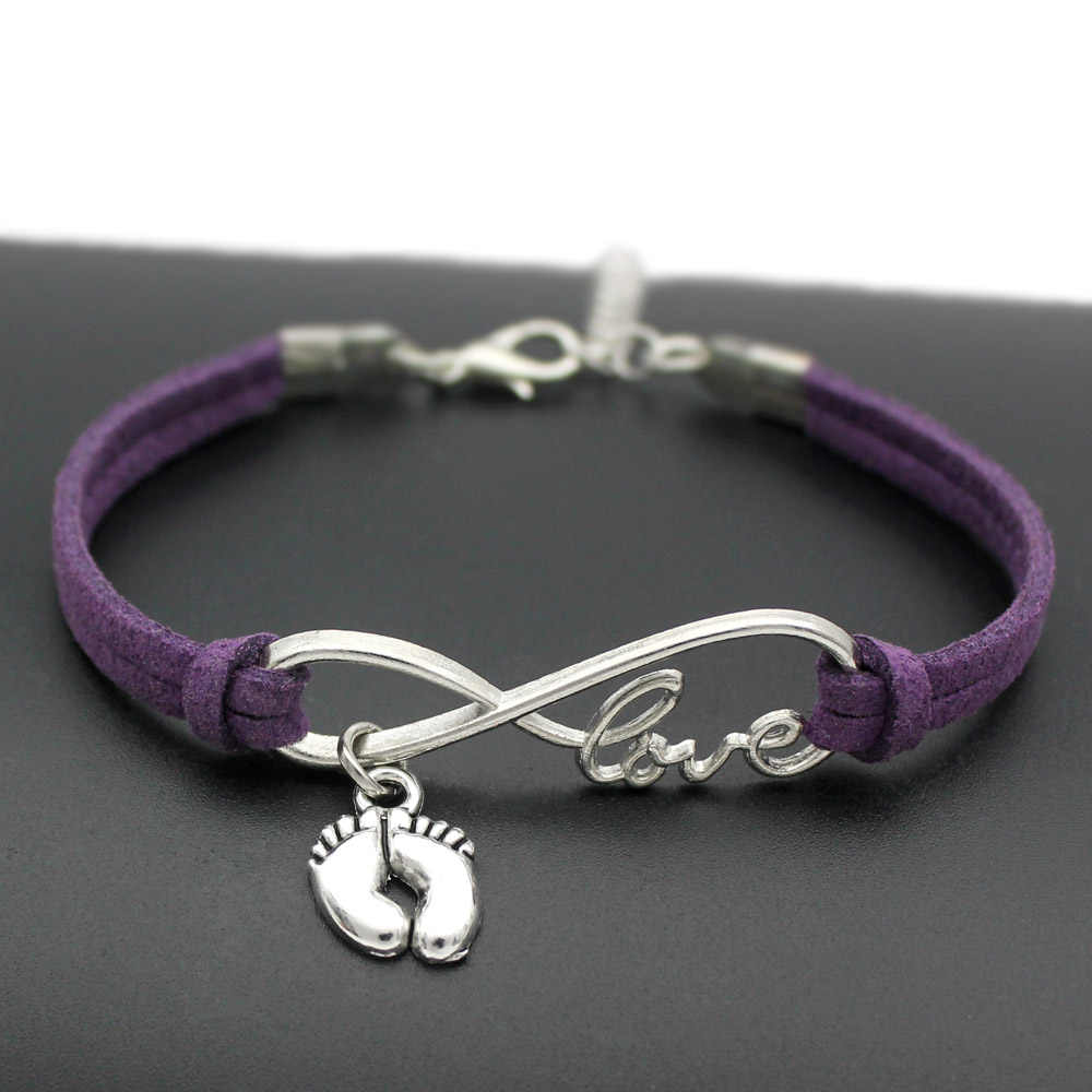 1pcs infinity handmade Women Stylish  Love Baby Little Feet Charms Bracelets Baby Footprin Pendant Bracelet 7445-7454