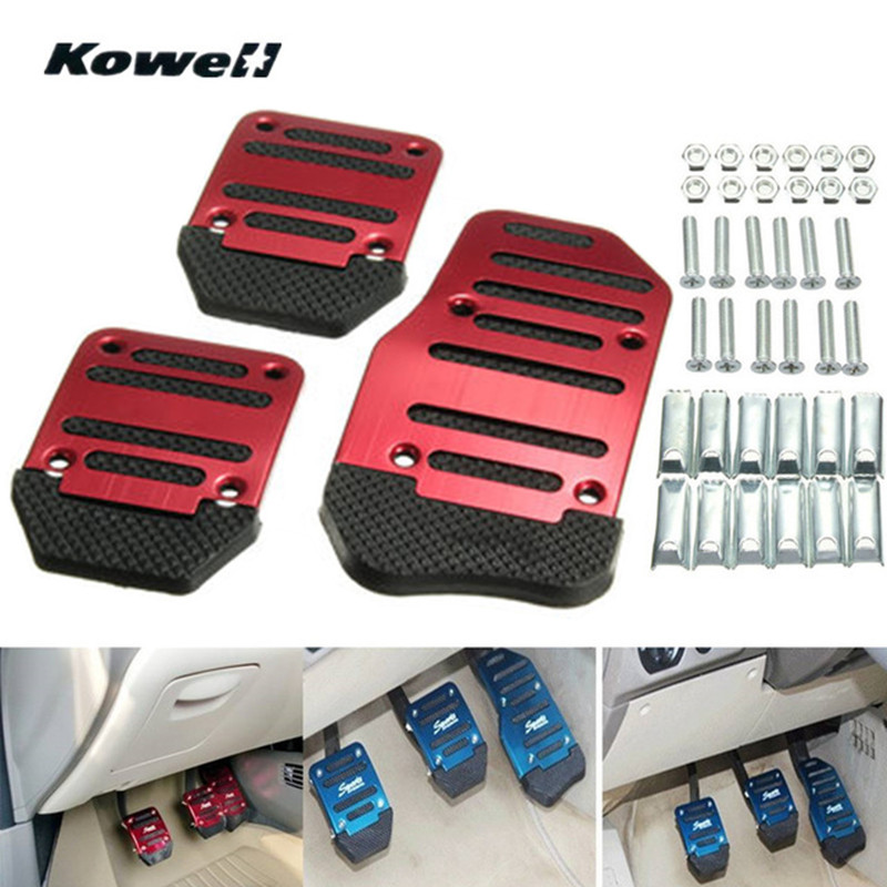 купить KOWELL 3PCS Red Blue Foot Rest Fuel Gas Brake Clutch Pedals Plate Cover Car Pedal Pads for Volkswagen VW Polo Bora Golf for KIA онлайн