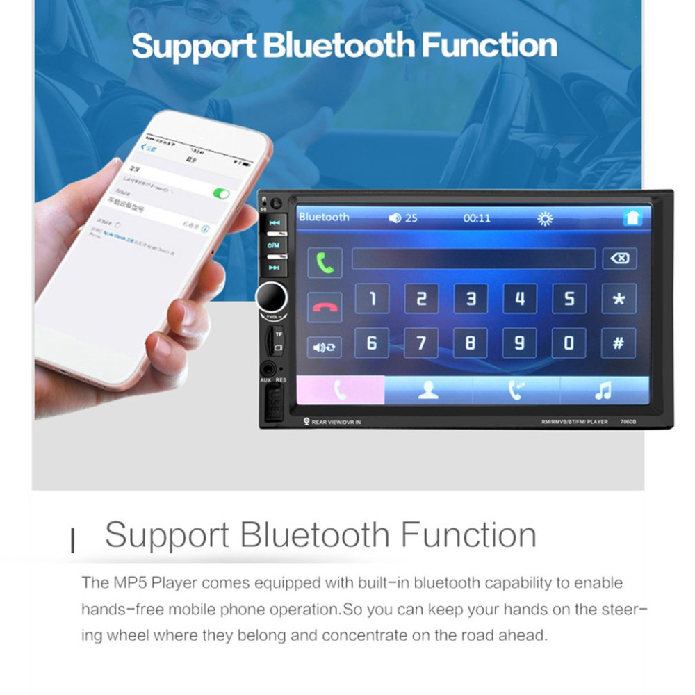 7 inch Bluetooth Vehicle Auto Car MP5 Video Player In Touch Screen Support MP3 USB TF AUX FM & Remote Control