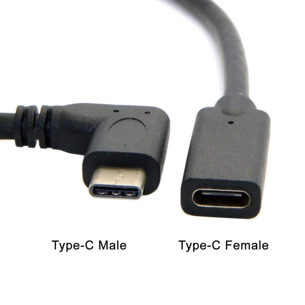 0.3 Meters Reversible Design Type C USB 3.1 90 Degree Male To USB-C Female Extension Data Cable Extender Cord