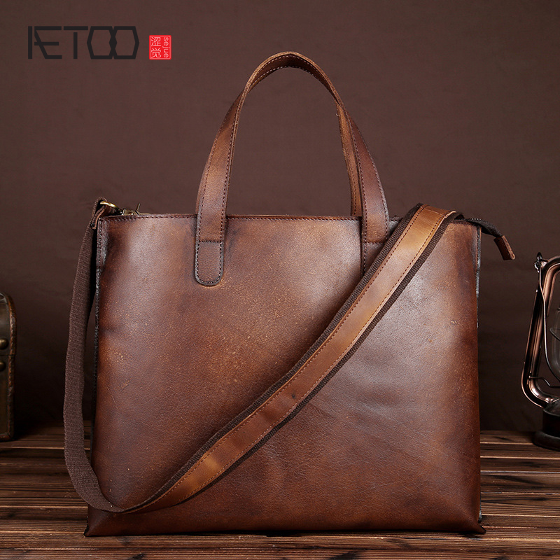AETOO Men 's large portable briefcase imported tanned real leather handbag single shoulder diagonal package men' s briefcase european candy color jelly package imported rubber rubber single shoulder handbag concise doctrine finalize the design package