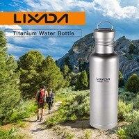 Lixada 500ml/750ml Titanium Water Bottle Extra Plastic Lid Ultralight Outdoor Camping Cycling Water Bottle Outdoor Tableware