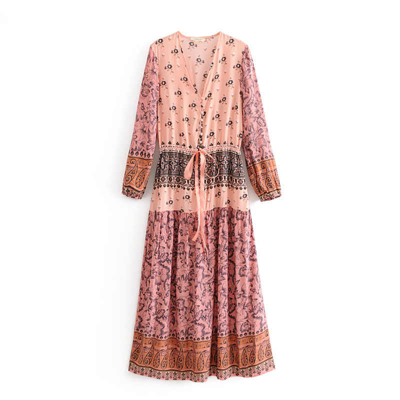 32d098b95 Boho Chic Summer Vintage Floral Print Pleated Long Dress Women 2019 Fashion  V Neck Buttons Lace