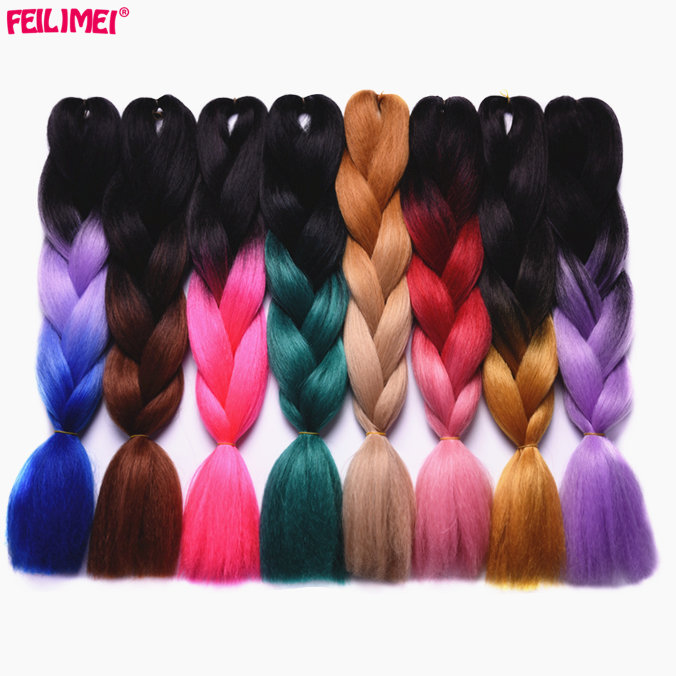 Jumbo Braids Hair Extensions & Wigs Cheap Sale Feilimei Blonde Gray Colored Crochet Hair Extension Kanekalon Hair Synthetic Crochet Braids Ombre Jumbo Braiding Hair Extensions