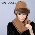 Top Quality Winter Warm Knitted Scarf And Hat Set Women Thicken Knitted Hat Scarf  Pure Color Scarf for Women Scarves Wraps