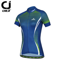 CHEJI Cycling Jerseys Women Bassic Bicycle Top MTB Shirts Blue Short Sleeve Bike Clothing Top