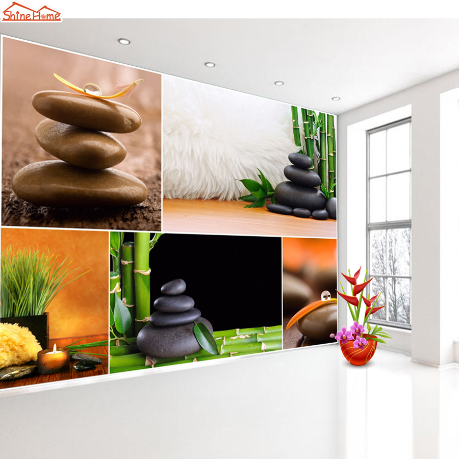 Shinehome-3 d Wallpaper for Livingroom 3d Wall SPA Salon Cosmetic Massage Bamboo Store Rolls Wall Paper Roll Papel De Parede shinehome abstract brick black white polygons background wallpapers rolls 3 d wallpaper for livingroom walls 3d room paper roll
