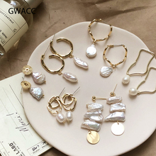 GWACC Korea Design Metal Gold Drop Earrings Baroque Irregular Circle Square Natural Freshwater Pearl Earrings for Women Girls