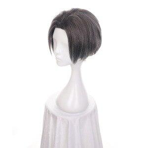 """Image 2 - Ccutoo 12 """"מיילס Edgeworth תסרוקות מרכזית פרידה גריי קצר המפלגה של התנגדות חום שיער סינטטי קוספליי פאה לגברים"""