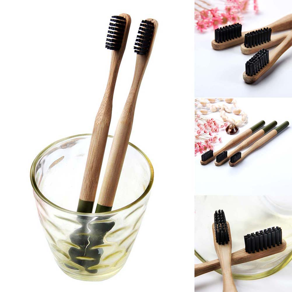 1 Pc Eco-friendly Adult Bamboo Travel Toothbrush Green Handle Wooden Low Carbon Bamboo Kids Toothbrush Tooth Cleaning Brush image