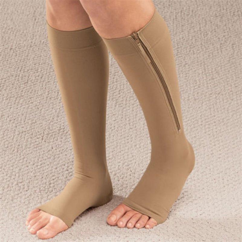 663d6858a1 Women Zipper Compression Socks Zip Leg Support Knee Sox Open Toe ...
