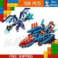 539 шт. Новые Рыцари 14030 Глины Falcon Истребитель Blaster DIY Модель Строительные Блоки Комплект Игрушки Nexus Совместимо с Lego