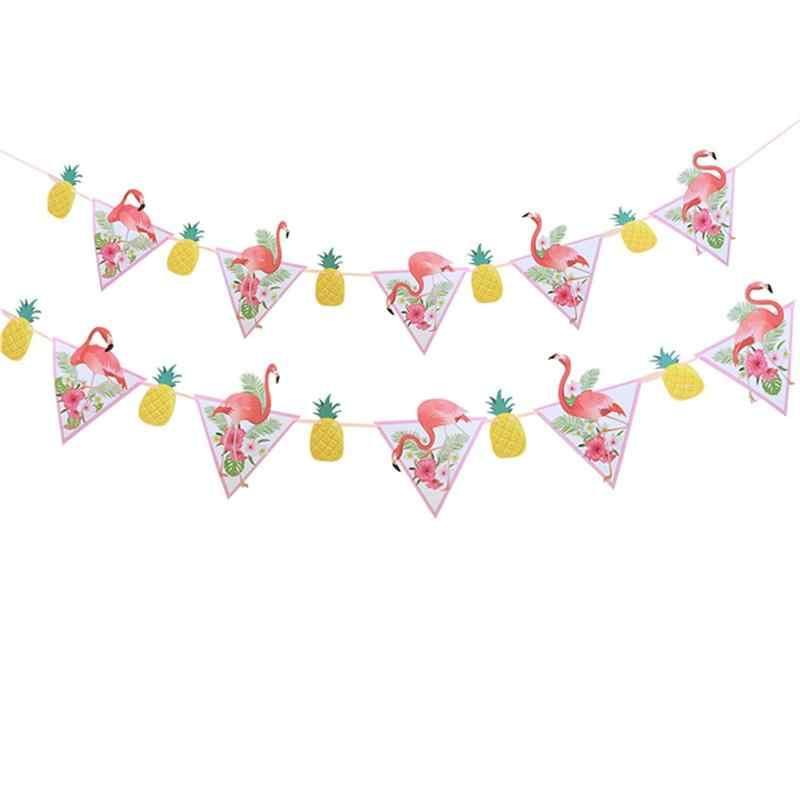 2pcs Decor Bela Flor Abacaxi Havaí Bandeira Da Bandeira Bandeira Pendurada Flamingo para Coleta de Festival