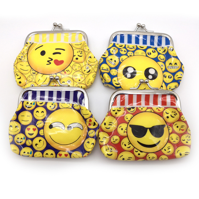 1PCS Birthday Party Emoji Theme Kids Favors Funny Coin Purse Bags Gift PVC Money Bag Decoration