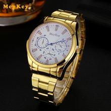 Mcykcy marca reloj de los hombres de alta calidad reloj de oro banda de aleación de reloj de pulsera de reloj de cuarzo reloj de negocios casual para hombres reloj