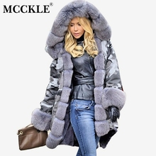 MCCKLE Women Faux Fur Collar Hooded Parkas 2018 Winter Female Fashion Outwear Lady Thick Cotton Military Warm Plus Size Overcoat