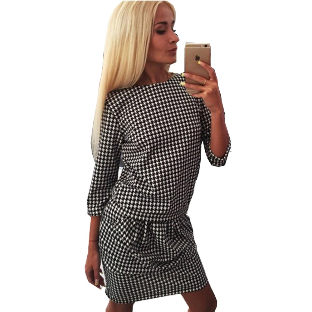 Women Houndstooth 3/4 Sleeve Casual Tight Slim Party Club Cocktail ...