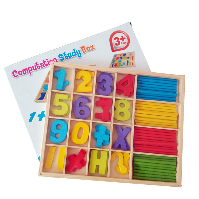 Montessori teachings infant arithmetic learning toys puzzle digital game box count number sticks early education gift