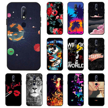 3D DIY Painted Black Case For Nokia 7.1 Plus 7 3 9 Cases Coque Flower Cat Pattern Cover On PureView Phone Funda