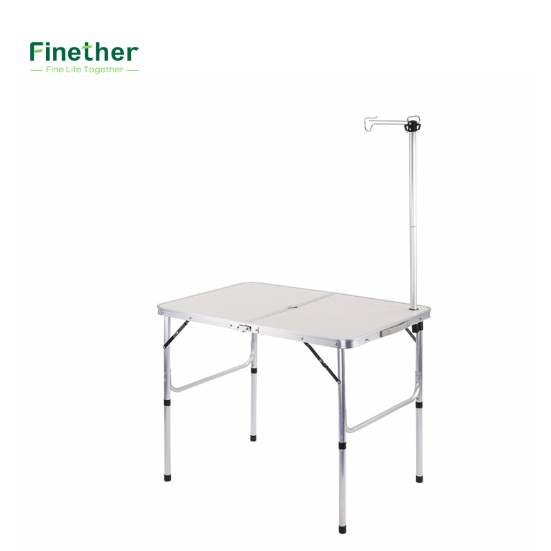 new folding table with parasol hole lantern pole and extension poles for indoor outdoor picnic cookout party camping kitchen - Camping Kitchen Tables