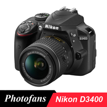 Nikon d3400 dslr câmera, câmera fotográfica com lentes binkor AF P de 18 55mm, 24.2 megapixels e bluetooth (marca nova)