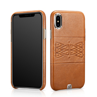 Vintage Printing Totem Genuine Leather Case Cover For Apple IPhone X Luxury Slim Hard Classic Metal