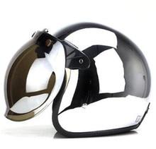 Mirror Silver Chrome Vespa Open Face Motorcycle Motorbike Helmet Harley Retro Moto Helmets Casque Casco Capacete Motoqueiro DOT недорого