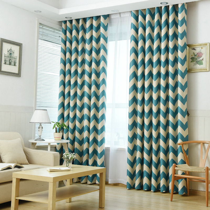 Blackout Curtains For Summer Stripe Pattern For Kitchen Curtains  Blue/Yellow/Navy Panel Window