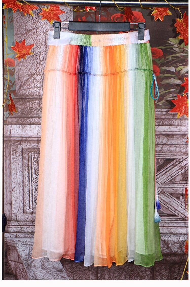 multi Dames Piste Yidora Jaune Nouvelle Jupe Longueur Ceinture Élastique 2016 Cordon Mulitcolors Cheville De Long Mode Plissée Luxe Soie bf7vIyYg6