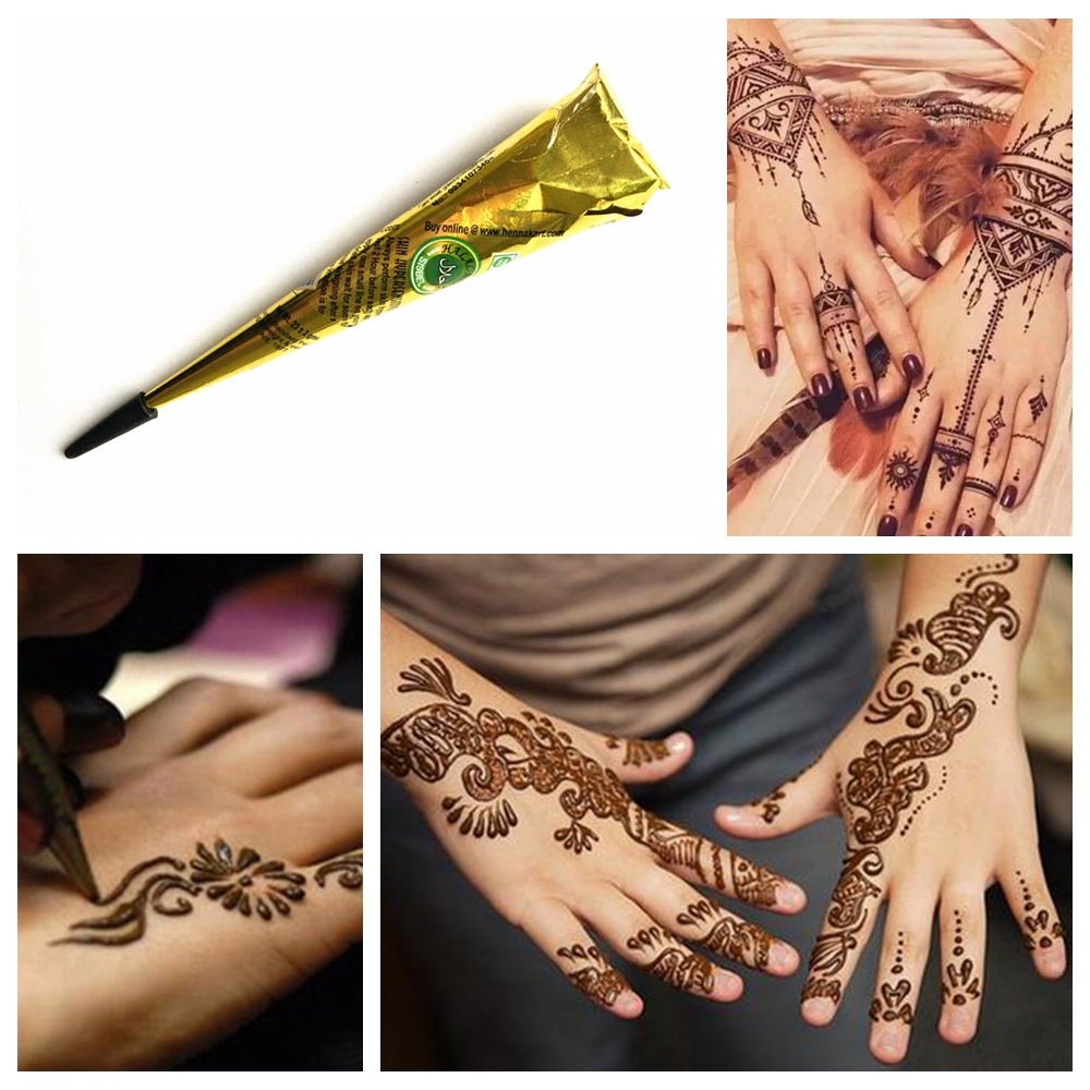 Henna Tattoo Color Brown: 1PC Natural Herbal Indian Henna Tattoo Paste Cones Brown