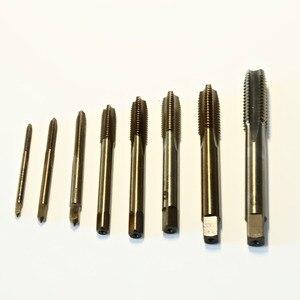 Máquina de flauta, frete grátis 7 pçs/set de hss co5 % m35 feito em espiral e em linha reta torneiras parafusos m3 m4 m5 m6 m8 m10 m12 para trabalho ss