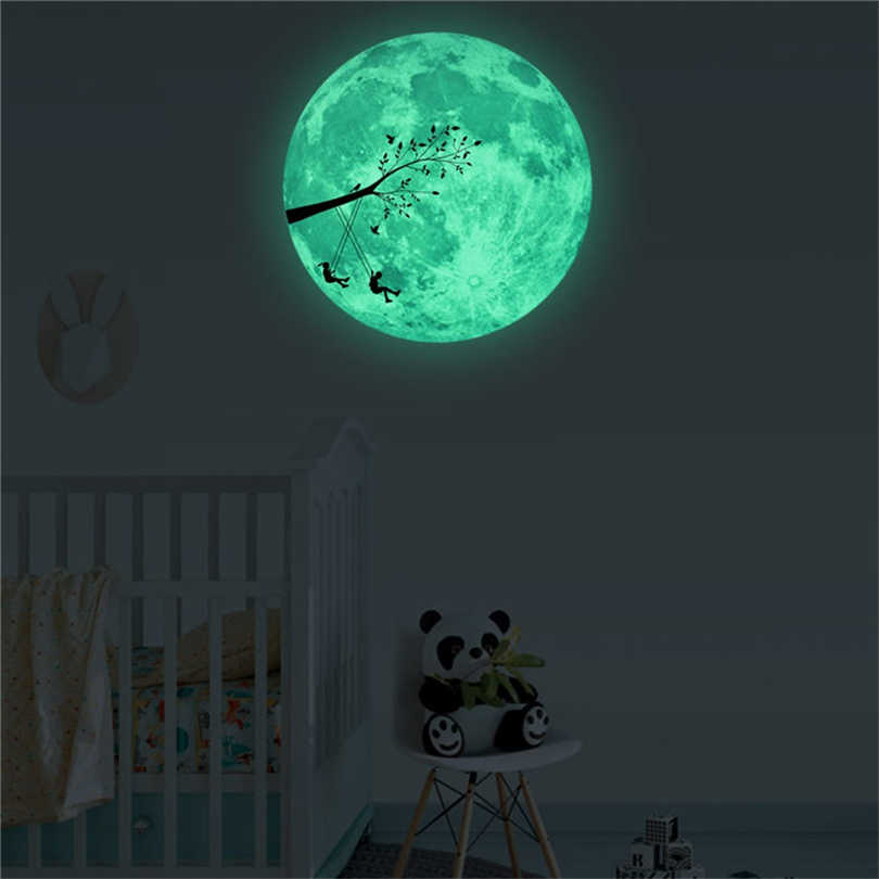 30cm 3D Luminous Moon Bedroom Wall Sticker Green Fluorescent Branch/Plane/Bats In Moon Glow in Dark Night Stickers Round Moons25